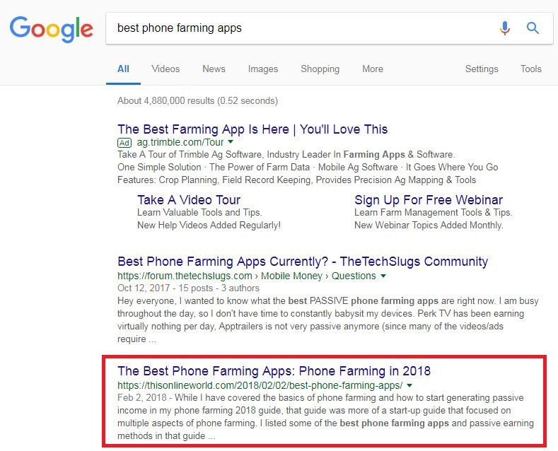 Another first page ranking on Google for phone farming