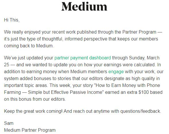 Medium now pays bonuses!
