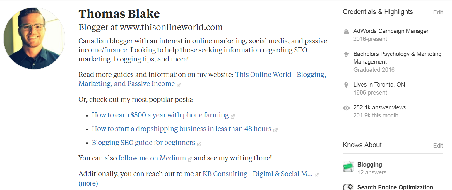 Quora-Profile-Page