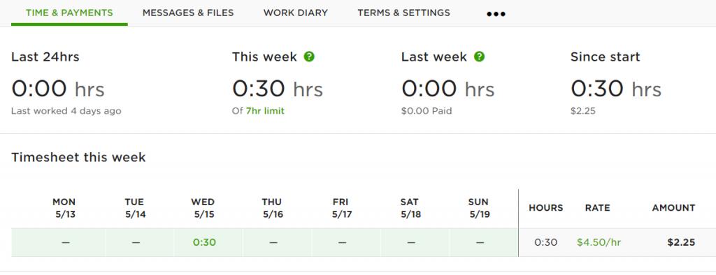 upwork freelancer timesheet