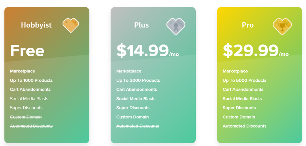 Storenvy-pricing